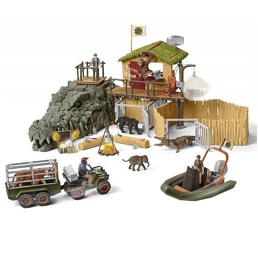 Schleich Набор фигурок Исследовательская станция Croco в джунглях