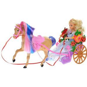 WSBD World Игровой набор с куклой Лошадь с повозкой и куклой