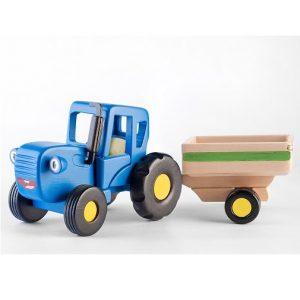 Игрушка Синий трактор Гоша с прицепом WoodenToys 1635T