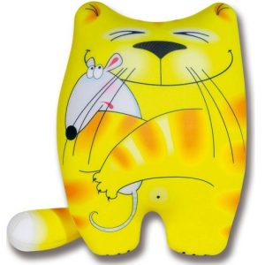 Штучки, к которым тянутся ручки Подушка-игрушка антистрессовая Кошки-мышки цвет желтый