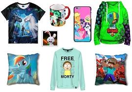 Одежда и аксессуары с любимыми героями из мультиков и игр