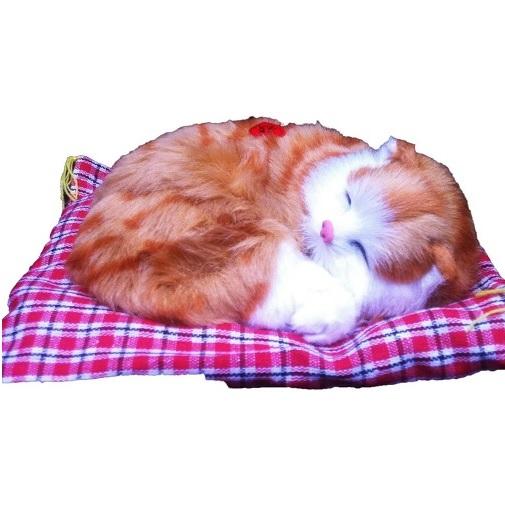 Игрушка Спящий котенок на коврике со звуком Мяу Рыжий Vebtoy CM371
