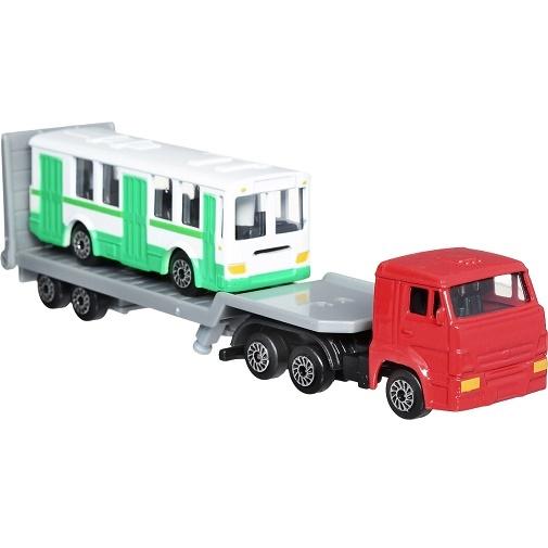 ТехноПарк Набор машинок КамАЗ Транспортер с автобусом 2 шт
