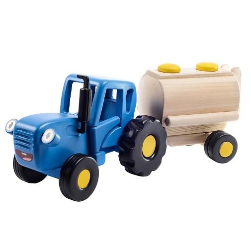 Игрушка Синий трактор Гоша с бочкой WoodenToys 1636T
