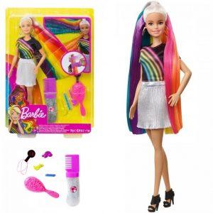 Кукла Барби с радужной мерцающей прической Barbie FXN96