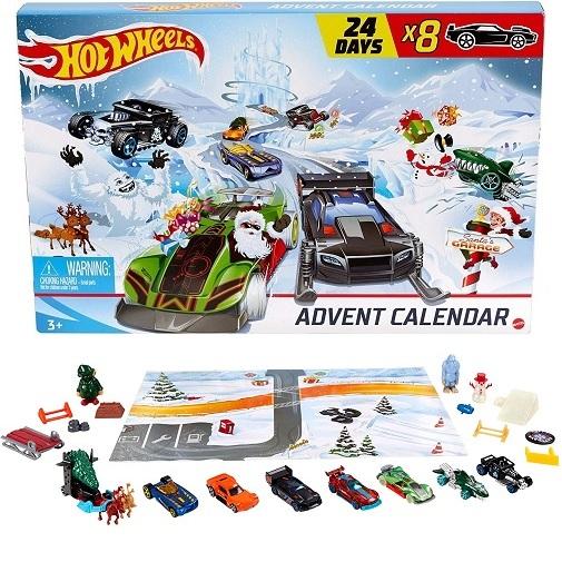 Адвент-календарь Хот Вилс 24 окошка (8 машинок, 16 аксессуаров) Hot Wheels