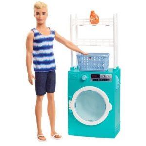 Кукла Кен в прачечной с мебелью Barbie Ken Laundry Room FYK52