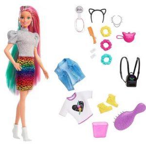 "Кукла Барби стиль ""Радужный гепард"" Rainbow Cheetah Hair"