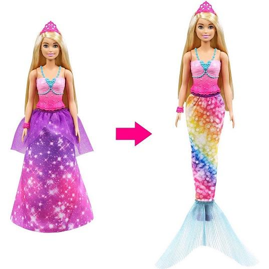 Кукла Барби с трансформацией 2-в-1 Принцесса ↔ Русалка Barbie GTF92
