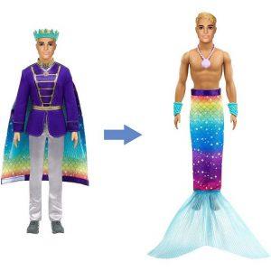 Кукла Кен с трансформацией 2-в-1 Принц и Тритон Barbie GTF93