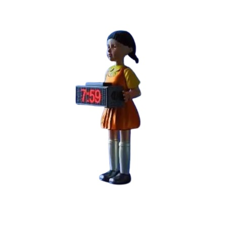 Будильник стреляющий Жуткая кукла Игра в кальмара