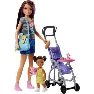 Кукла Барби Няня Скиппер Прогулка в коляске Barbie FJB00